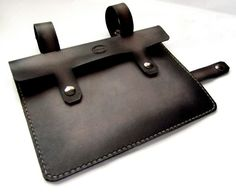"""Black and Grey Leather Bike Frame Bag by SanFilippoLeather / $85 on Etsy, I asked them to make one for my 13"""" Macbook Air and they graciously agreed. Now it's the only laptop case I use, my bag when I'm riding, and my briefcase when I'm walking around with just my computer."""