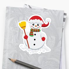 'Snowman with green and red scarf holding yellow broom' Sticker by duyvolap Red Scarves, Sticker Design, Snowman, Hold On, Snoopy, Stickers, Yellow, Green, Prints