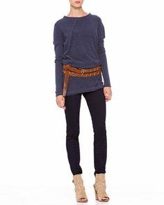 Donna Karan Long-Sleeve Fold Top, Second Skin Pants & Double-Wrap Grommet Belt - Neiman Marcus