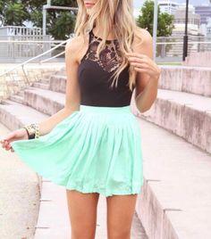 Shirt: mint high waisted skirt lace top black top mint dress gold chain skater dress skater skirt