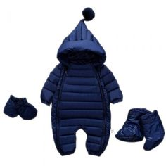 Cute Unisex Toddler Hooded Down Sweater Set Warm Winter Outerwear Blue