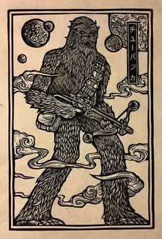 If you see Chewbacca walking around Atlanta with the Predator and a zombie, don't panic. Star Wars Poster, Star Wars Art, Star Art, Sketch Manga, Laser Art, Linoprint, Tampons, Chewbacca, Gravure