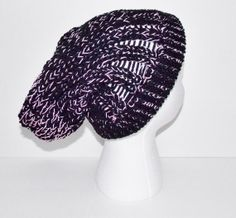 Hand Knitted Slouchy Hat Black with Pink by ChristinasVCreations, $20.00 Use coupon code Save10  Valid until 6/30/14