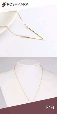 "Brand New Gold Chevron Minimalist Necklace Super cute and trendy v shaped geometric necklace in shiny gold.  Chain adjusts from 17.5-20"".  Brand new and perfect! Jewelry Necklaces"