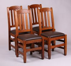 Set of 6 Charles Stickley dining chairs very similar to Stickley Brothers model #379 1/2. Unsigned. Excellent original finish. 37.5u2033h x 17.5u2033w x u2026 & Set of 6 Charles Stickley dining chairs very similar to Stickley ...