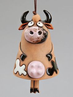 Ceramic Cow Bell Happy Cow Kids toy School by Molinukas on Etsy