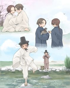 Both S. Korea and N. Korea as kids being together. From hetalia