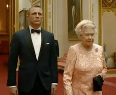 Daniel Craig as James Bond with The Queen in Olympics film.jpg