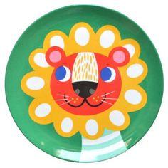 Helen Dardik green lion melamine plate.   Would love this on wall in nursery.