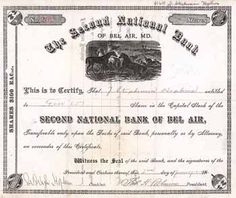 Second National Bank of Bel Air, Md. 5 shares à 100 $ 2.1.1917.