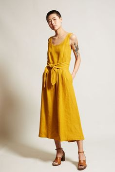 No. 6 Alice Jumpsuit in Gold Linen