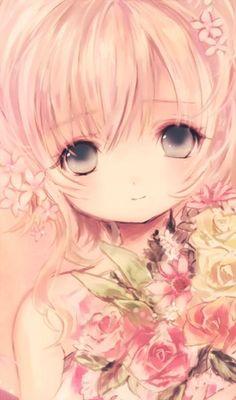 Garota Anime Fofa-Flores-Cute