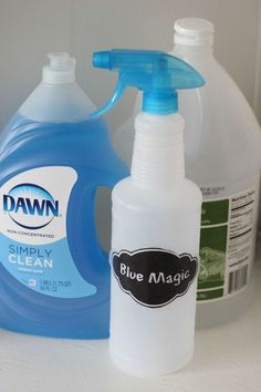 Blue Magic Easy DIY Tub and Tile Cleaner.  Works best at removing soap scum from glass showers.