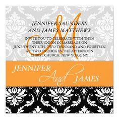 Orange Black White Damask Wedding Invitations- also like wording