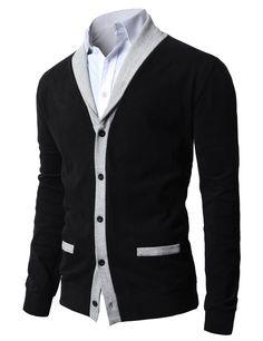 H2H Mens Shawl Collar Cardigan with Fake Pockets BLACK US XL/Asia 2XL (JNSK04)