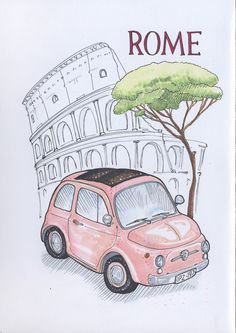This i want to visit Drawings Rome Art, Beautiful Drawings, Bullet Journal Inspiration, Doodle Drawings, Book Journal, Art Sketches, Croquis, Canvas Wall Art, Painting & Drawing
