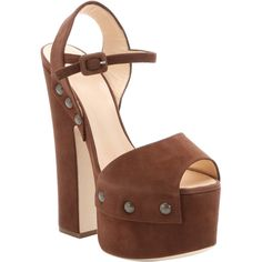Giuseppe Zanotti Brown Suede 'betty' Platform Peep Toe Sandals... (3.870 DKK) ❤ liked on Polyvore featuring shoes, sandals, brown, high heel sandals, high heel platform sandals, brown sandals, studded sandals and ankle wrap sandals