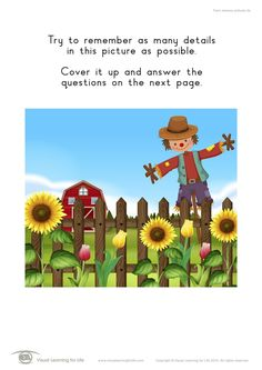 """In the """"Farm Memory Pictures"""" worksheets, the student must remember the details in the picture on the first page, in order to answer the questions on the second page when the picture is no longer visible. Learning For Life, Visual Learning, Visual Memory, Try To Remember, Worksheets, Student, Memories, This Or That Questions, Pictures"""