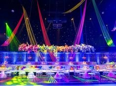 We suspended curtains of #neon #ribbon to create this grand #dayglo canopy…