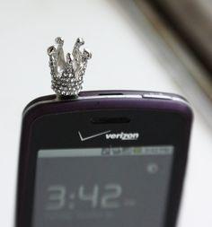 Crown Earphone Plug Iphone Earphone Plug Dust Plug - Smartphone Earphone Plug Cellphone Accessories. $6.50, via Etsy.