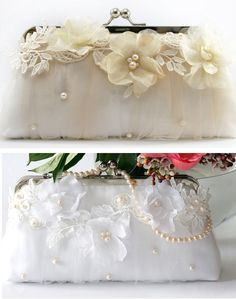 Love this idea for sprucing up a plain clutch bag! :)