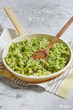 Zucchini Rice via @PureWow. A healthy--and tasty--alternative to regular rice. Remember cauliflower rice? Well, there's a new healthy rice substitute we've been cooking up lately. With just a few simple ingredients and little effort to prepare, our zucchini rice recipe is the side dish you're going to be making all summer long. (Pairs well with grilled flank steak or roast chicken--your choice.)