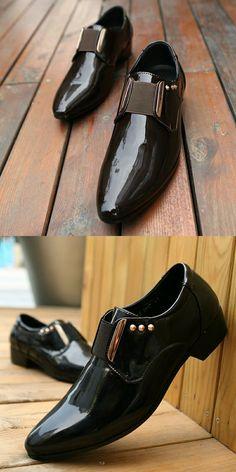 bb5f4c705d1f Elegant Men Dress Shoes Patent Leather Black Business Wedding Shoes Flats  Pointed Toe Shining Metalic Big
