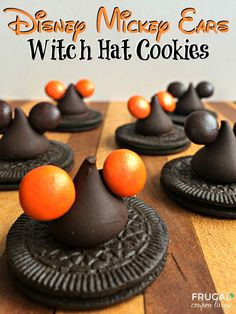 Disney Halloween Mickey Ear Witch Hats - Show your Disney Side with these Halloween Snack Treats. Recipe details on Frugal Coupon Living.
