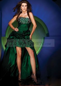 green high-low a-line gown