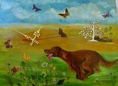 Time is going on... painted clock. Irish setter running. Funy painted clock. #clock #funny #dog #setter #time #handmade #canisartstudio