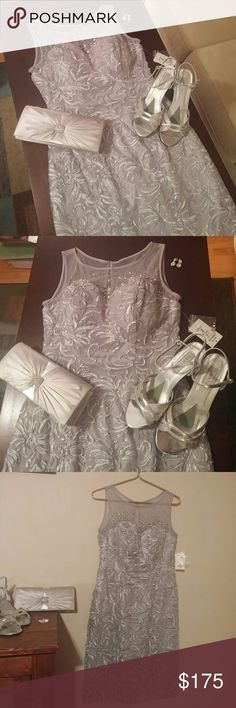 1 DAY SALE! Gorgeous Beaded Dress NWT!  Stunning silver dress with attention to detail!  Illusion tank bodice is adorned with metallic beading for sparkle!  Soutache detail on this knee length silhouette adds texture and drama.  Fully lined.  Size 8.  Absolutely gorgeous! Dresses Wedding