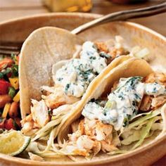 Fish Tacos with Lime-Cilantro Cream. Used the lime-cilantro cream with baja fish tacos. This sauce is AMAZING!! I would eat it on any fish, any time.