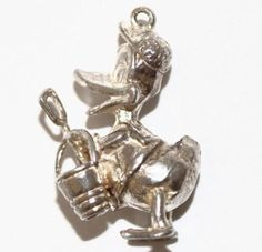 Rare Vintage Donald Duck With Beach Bucket Sterling Silver Bracelet Charm - 50usd