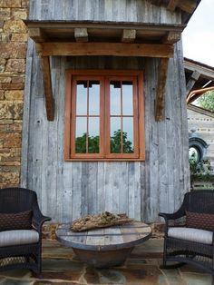 River Wilderness - rustic - entry - little rock - DK Design I wonder if there is an exterior stain that is that lovely grey color. Natural Wood Trim, Natural Wood Decor, Dark Wood Bedroom Furniture, Rustic Entry, Wood Box Centerpiece, Reclaimed Wood Kitchen, Farm House Colors, Ranch Decor, Wood Siding