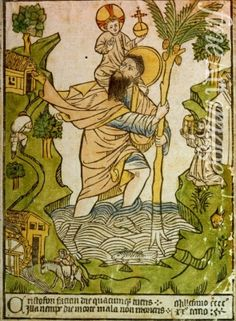 Woodcut print with hand-colouring of St Christopher from Buxheim on the Upper Rhine dated 1423 Saint Christopher - Wikimedia Commons Catholic Saints, Patron Saints, Catholic Religion, Roman Catholic, Globus Cruciger, Tarot, The Embrace, Saint Christopher, Medieval Manuscript