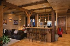 rustic basement bar ideas | Rustic Basement Bar Designs with Wood Materials | Pictures and Photos ...