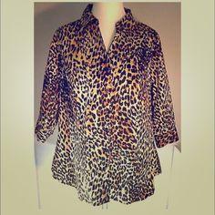 Leopard Print Women's Shirt 3/4 Sleeve Button down no damage Lane Bryant Tops Button Down Shirts