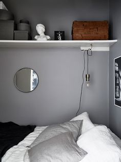 The Swedes certainly know how to do small spaces. Case in point: this small but stylish apartment, whose living room cupboard conceals a clever surprise. Living Room Cupboards, Luxury Bedroom Furniture, Luxury Bedding, Hidden Bed, Zen Room, Box Bed, Single Bedroom, Bright Homes, Compact Living