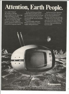 1971 Advertisement Panasonic Orbitel Television TR 005 Space Age Futuristic TV 70s Electronics Outer Black and White Wall Art Decor