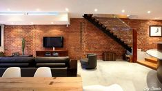 Exposed Brick Walls into Interior Décor - [I LIKED EVERYTHING sans the budda head statue and some of the other artwork unacceptable for my beliefs]...