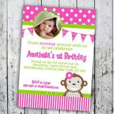 1st birthday girl monkey | Mod Monkey Birthday Invitation 1st Birthday Photo Party Invitation ...