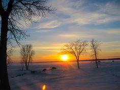 Beautiful sunset at Lake Manitoba