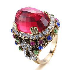 emanco Colorful Strass Kristall Vergoldete Legierung Vintage Luxus Ringe für Frauen Rot