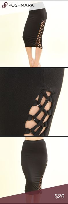 🎉💋HOST PICK💕🎉Braided Lace Up Pencil Skirt💖 Fitted Stretchy pencil skirt metal detailed lace up look open sides. Fully lined.   Material- 95% cotton 5% spandex  MADE IN USA Color- Black Skirts Pencil