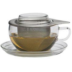 Teetasse TEA TIME S, Jumbotasse mit Edelstahlfilter von Trendglas Jena Tee-Geschirr aus Glas Tassen mit Untersetzer