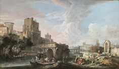 Luca Carlevarijs (Udine 1663 - 1730 Venice), River landscape with a capriccio view of the Ponte Rotto, Rome