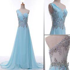 one shoulder elegant strapless , blue dress handmade light party prom dress - gopromdres.com