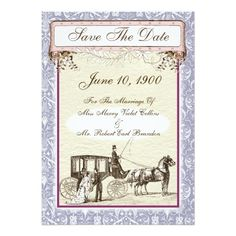 Vintage Carriage Save The Date in Lavender. Available in multiple color ways. Designs in horse and buggy and other vintage romance styles.