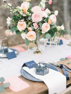 Blueberry themed wedding table: http://www.stylemepretty.com/canada-weddings/british-columbia/2014/06/25/summer-inspired-wedding-shoot-in-the-okanagan-valley/ | Photography: Christie Graham - http://www.christiegrahamphotography.com/