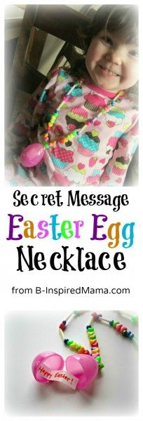 """Secret Message Easter Egg Necklace Kids Craft from B-InspiredMama.com at Parent Teach Play"" #easter"